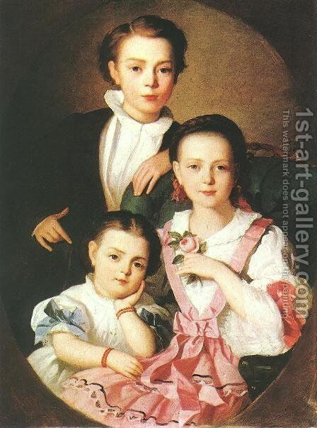 Portrait of Istvan, Emma and Minka Czobel 1857 by Gyorgyi Alajos Giergl - Reproduction Oil Painting