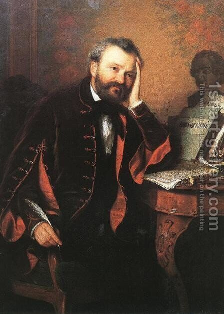 Composer Ferenc Erkel 1850s by Gyorgyi Alajos Giergl - Reproduction Oil Painting