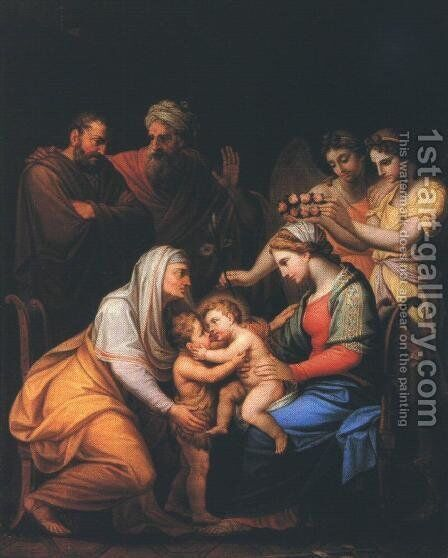 Holy Family with Saints 1813 by Janos Mihaly Hesz - Reproduction Oil Painting