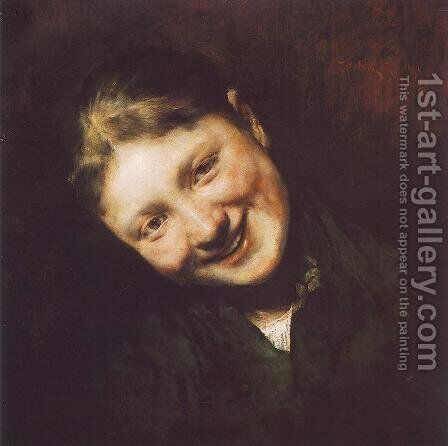 Laughing Girl 1883 by Simon Hollosy - Reproduction Oil Painting