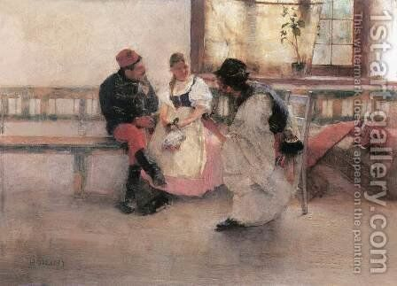 Between Two Fires 1891 by Simon Hollosy - Reproduction Oil Painting
