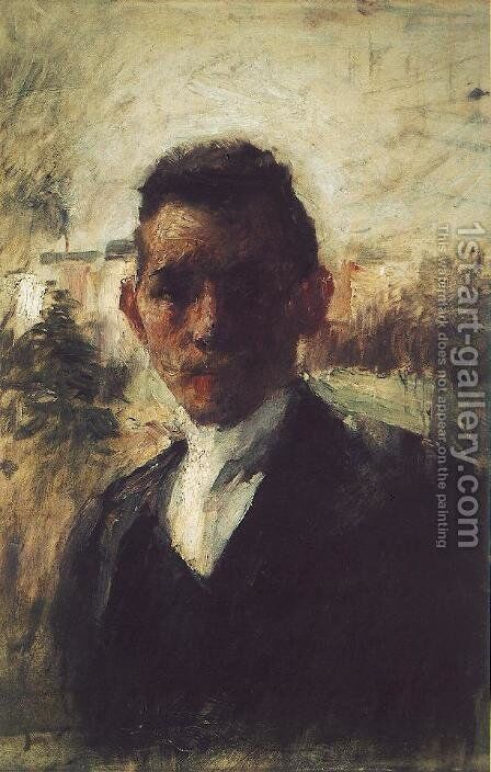 Portrait of Gyula Kosztolanyi Kann before 1897 by Simon Hollosy - Reproduction Oil Painting