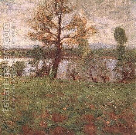 Springtime Mood Bank of the River Tisza 1916 by Simon Hollosy - Reproduction Oil Painting