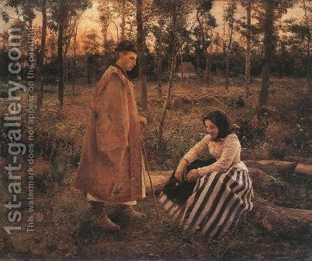 Shepherd and Peasant Woman 1892 by Bela Ivanyi Grunwald - Reproduction Oil Painting