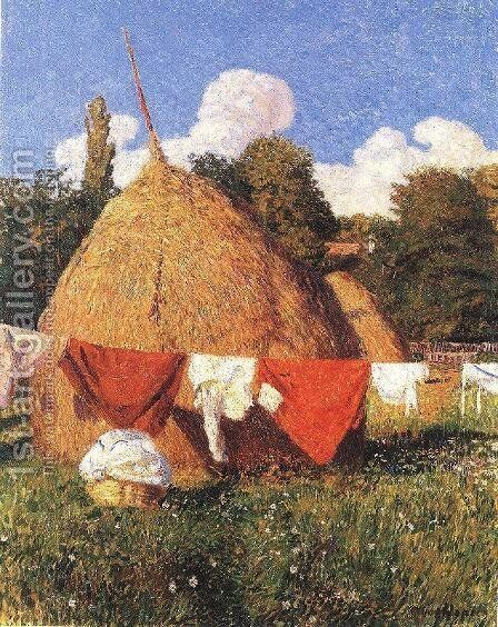 Drying Clothes 1903 by Bela Ivanyi Grunwald - Reproduction Oil Painting