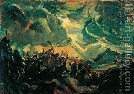Battle by Bela Ivanyi Grunwald - Reproduction Oil Painting