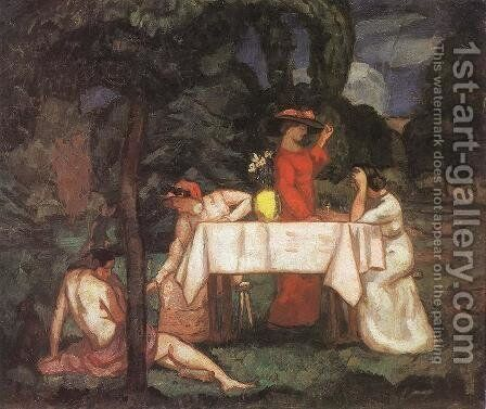The Tea Party In the garden 1910s by Bela Ivanyi Grunwald - Reproduction Oil Painting