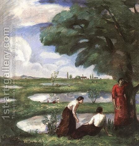 Rest at the Lake Shore by Bela Ivanyi Grunwald - Reproduction Oil Painting