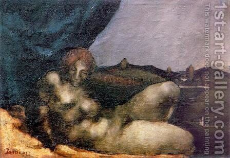 Reclining Nude 1922 by David Jandi - Reproduction Oil Painting