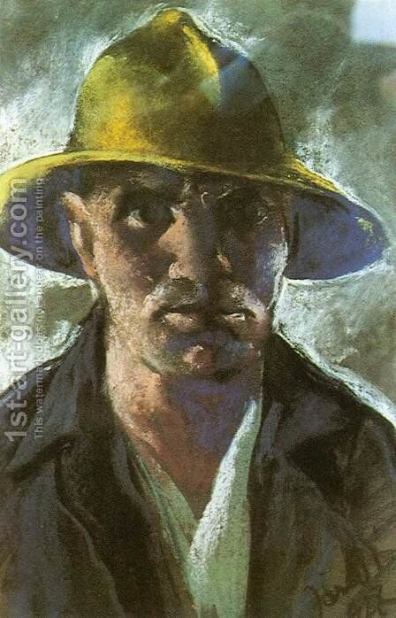 Self-portrait with Yellow Hat 1927 by David Jandi - Reproduction Oil Painting
