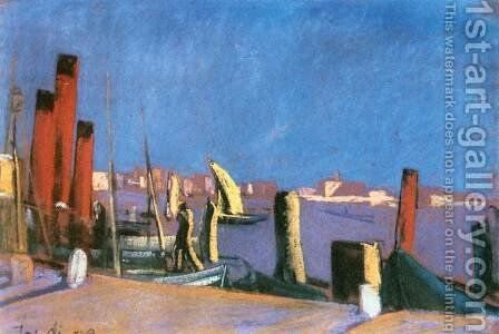 Harbour in Venice 1930 by David Jandi - Reproduction Oil Painting