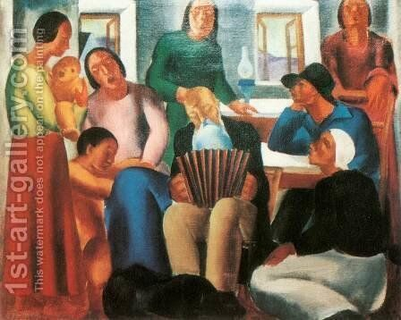 Singing family 1933 by David Jandi - Reproduction Oil Painting
