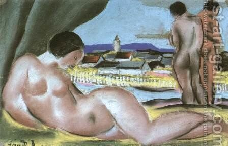 View of Nagybanya with Nudes 1935 by David Jandi - Reproduction Oil Painting