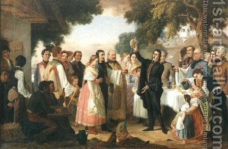 Poet Csokonai at the Wedding 1869 by Janos Janko - Reproduction Oil Painting