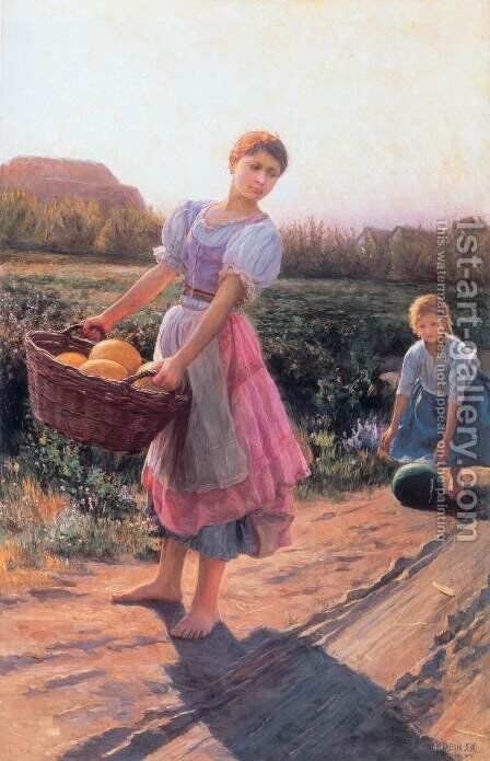 Harvesting Watermelon 1897 by Jeno Jendrassik - Reproduction Oil Painting