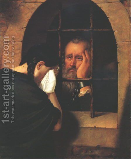 Janos Jablonczai Pethes Says goodbye to his Daughter at the Window of the Dungeon at Leopoldvar in 1674 by Balint Kiss - Reproduction Oil Painting