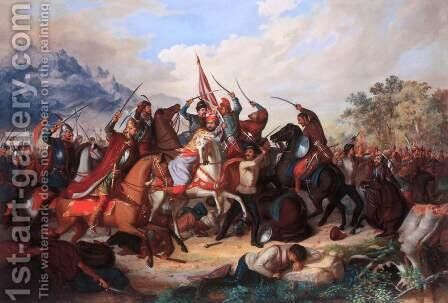 Scene from the War against the Turks 1857 by Balint Kiss - Reproduction Oil Painting