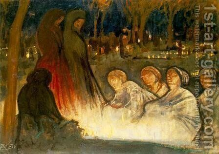 All Souls Day 1910 by Aladar Korosfoi-Kriesch - Reproduction Oil Painting