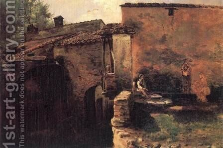 Watermill in Italy 1843 by Mihaly Kovacs - Reproduction Oil Painting