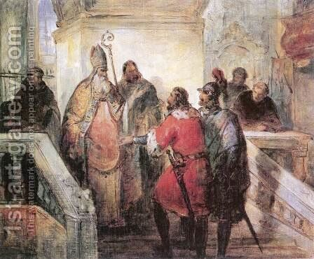 The Venetians Asking the Deliverance of St Marks Corpse c. 1846 by Mihaly Kovacs - Reproduction Oil Painting