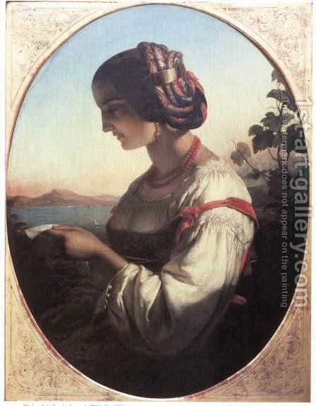 Italian Woman Reading a Letter 1846 by Mihaly Kovacs - Reproduction Oil Painting
