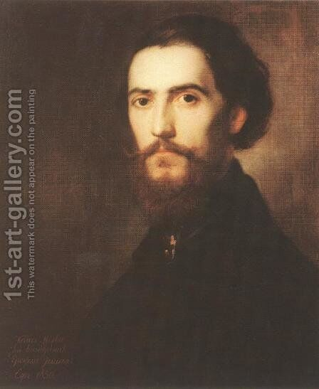 Self-portrait 1850 by Mihaly Kovacs - Reproduction Oil Painting