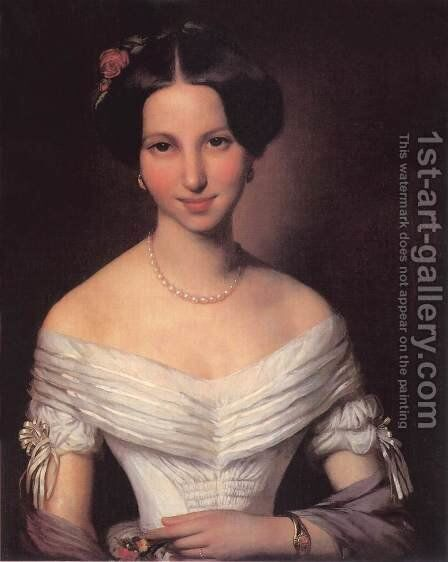 Portrait of a Young Woman 1851 by Mihaly Kovacs - Reproduction Oil Painting