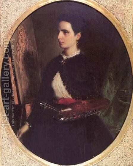 Petra de Castro y Blanco, the Artists Wife 1869 by Mihaly Kovacs - Reproduction Oil Painting