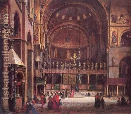 Interior of Sr Marks Basilica in Venice 1873-75 by Mihaly Kovacs - Reproduction Oil Painting