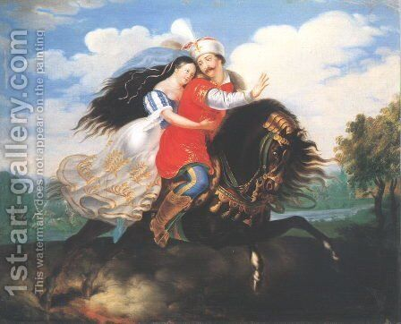 The Flight of Mihaly Dobozi c. 1830 by Demeter Laccataris - Reproduction Oil Painting