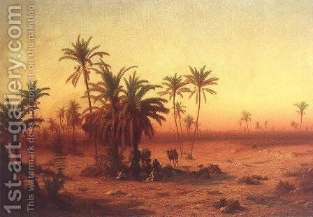 Oasis in the Desert 1862 by Antal Ligeti - Reproduction Oil Painting