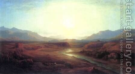 Italian Landscape 1873 by Antal Ligeti - Reproduction Oil Painting