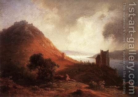 View of Visegrad with the Solomon Tower 1882 by Antal Ligeti - Reproduction Oil Painting