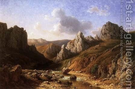 Romantic Waterside Landscape with Figures 1886 by Antal Ligeti - Reproduction Oil Painting
