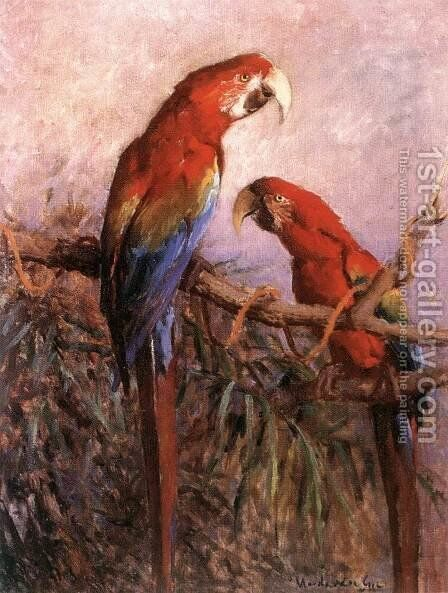 Parrots by Gyula Madarasz - Reproduction Oil Painting