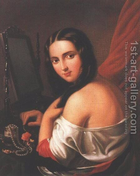 Woman Seated before a Mirror 1840s by Jakab Marastoni - Reproduction Oil Painting
