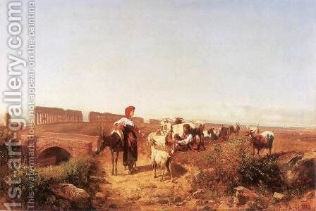 Sunlit Italian Landscape with Goats 1889 by Andras Marko - Reproduction Oil Painting