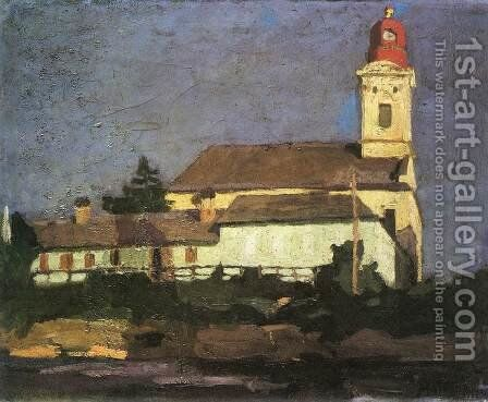 The Reformed Church from Hid Street 1900-05 by Jeno Maticska - Reproduction Oil Painting