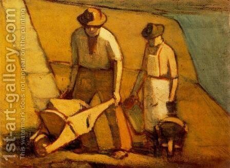 Navvies beginning of 1910s by Janos Nagy Balogh - Reproduction Oil Painting