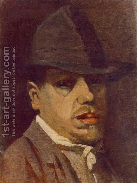 Self-portrait c. 1910 by Janos Nagy Balogh - Reproduction Oil Painting
