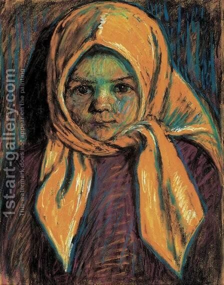 Girl with Yelloow Scarf 1917 by Istvan Nagy - Reproduction Oil Painting