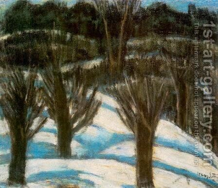 Snowy Landscape c. 1930 by Istvan Nagy - Reproduction Oil Painting