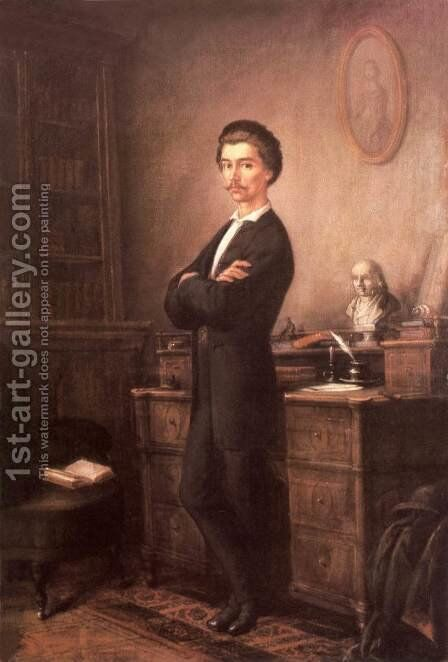 Petofi at Pest in 1848 by Soma Orlai Petrich - Reproduction Oil Painting