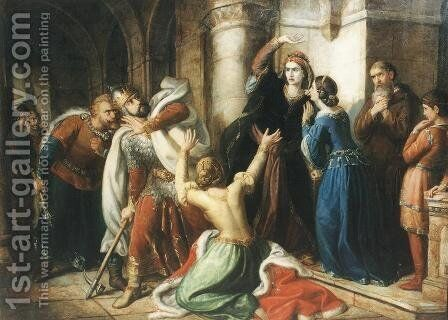 King Salomon Being Cursed by his Mother 1857 by Soma Orlai Petrich - Reproduction Oil Painting