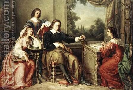 Milton Dictates the Lost Paradise to His Three Daughters 1862 by Soma Orlai Petrich - Reproduction Oil Painting