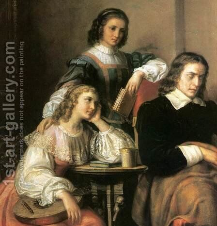 Milton Dictates the Lost Paradise to His Three Daughters detail 1862 by Soma Orlai Petrich - Reproduction Oil Painting