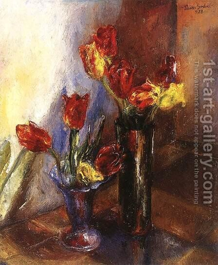 Tulips 1928 by Jeno Paizs Goebel - Reproduction Oil Painting