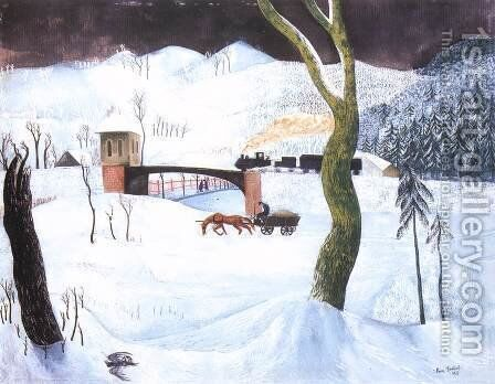 Winter 1932 by Jeno Paizs Goebel - Reproduction Oil Painting