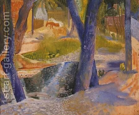 Bank of the Stream c. 1934 by Jeno Paizs Goebel - Reproduction Oil Painting