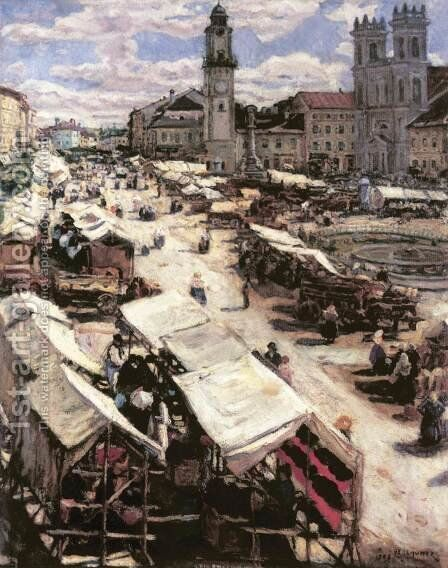 Market at Besztercebanya 1906 by Izsak Perlmutter - Reproduction Oil Painting